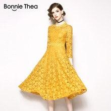 183587cc2a63a54 Бонни Thea Винтаж желтое кружевное осеннее женское платье vestido Женские  однотонные элегантные миди Длинные платья женские Вече..