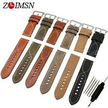 ZLIMSN Poder Mens Italia reloj de Cuero Genuino Reloj de Correa de La Banda de Acero Inoxidable Cinturón de hebilla de Metal 20mm 22mm 24mm relogio