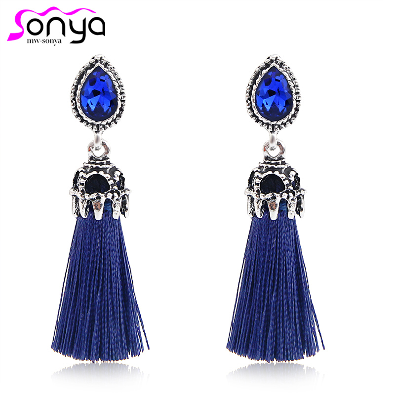 Long Tassel Statement Dangle øreringer for Rhinestone Stud mote smykker pendientes 3B4016