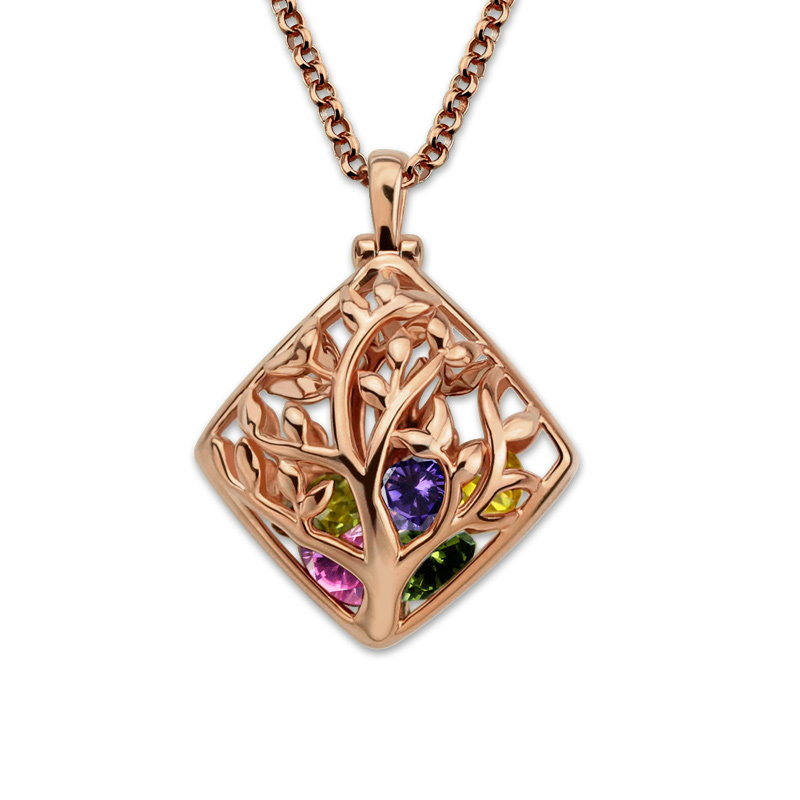 AILIN Personalized Mother Birthstone Necklace Rose Gold Color Family Tree Jewelry Cage Necklace engraved family tree bracelet with birthstones rose gold color disc mother