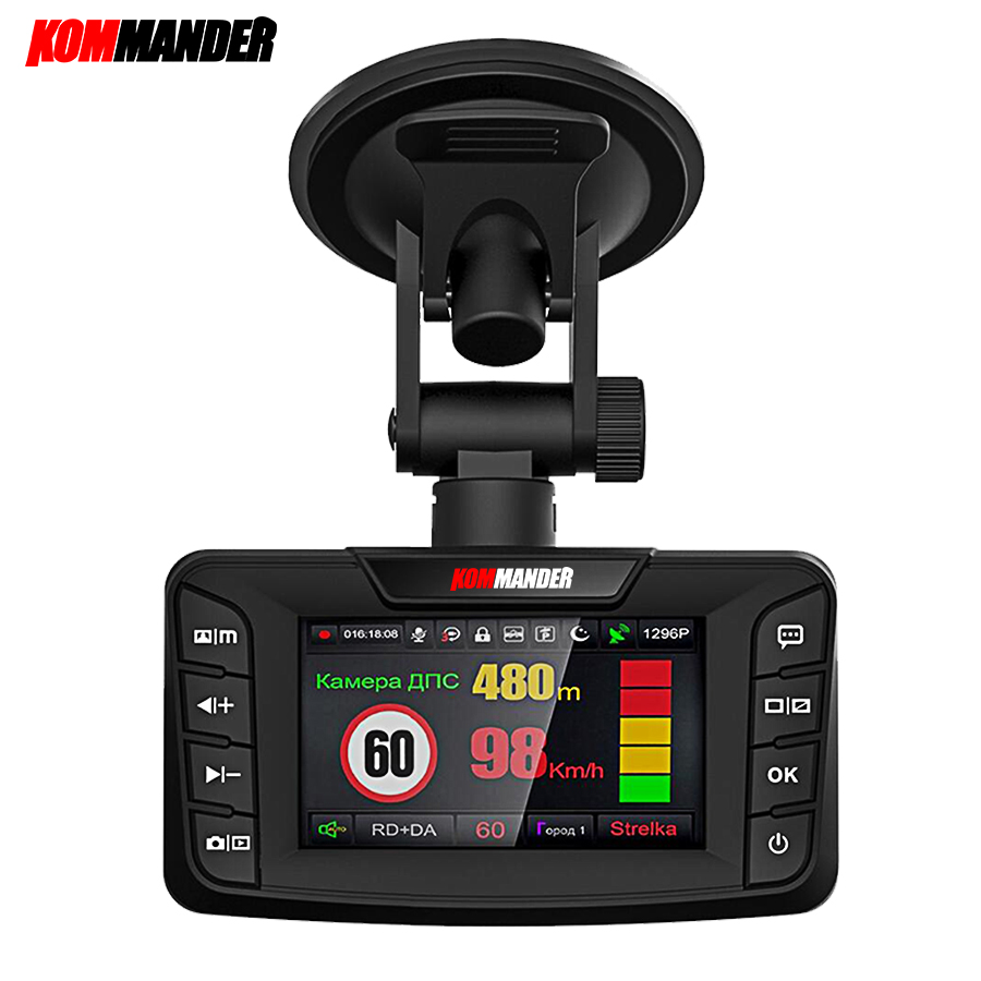 kommander CAR DVRs 2.7 DVR 3 in 1 Radar Detector with GPS for Russian Speedcam Anti Radar FHD 1080P Car Recorder Dash Camera