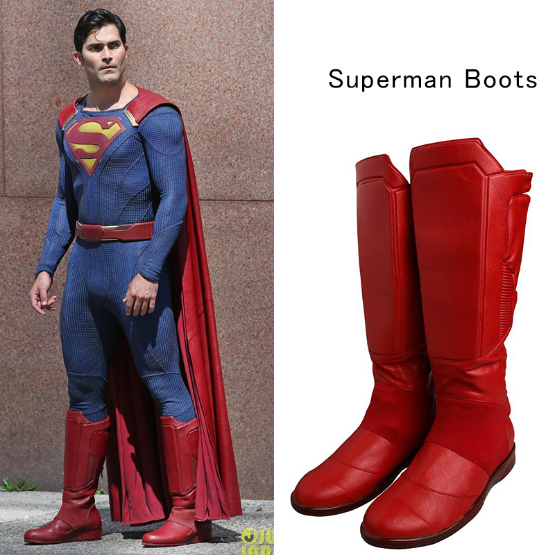 Supergirl Season 2 Costume Superman Clark Kent Cosplay Boots Red Leather Shoes Adult Men Halloween Carnival Accessories Props