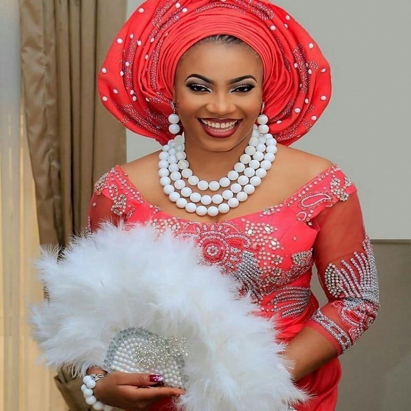 Fabuleux ensemble de bijoux blanc pierre perles africaines ensemble de bijoux de mariage Vintage collier Bracelet ensemble de bijoux 2018 livraison gratuite