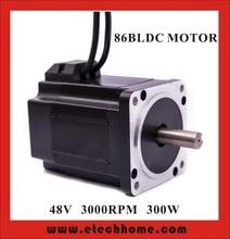 High Quality Brushless DC Motor 48VDC 300W 3000rpm Square Flange 86 mm