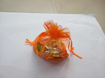 1000pcs 10*15 Orange gift bags for jewelry/wedding/christmas/birthday Organza Bags with handles Packaging Yarn bag