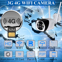 Outdoor 3G 4G SIM Card Camera Full HD 1080P Wireless Wifi IP Camera Waterproof CCTV IR Night Vision P2P SD Card Security Camera