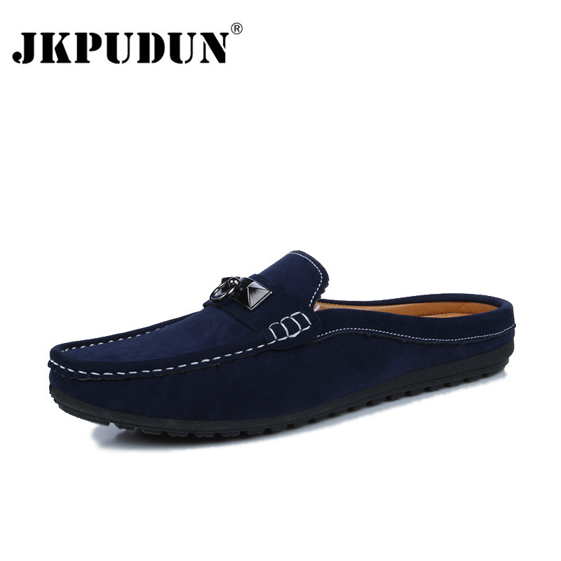 JKPUDUN Summer Men Shoes Casual Luxury Brand Mens Penny Loafers Leather Half Slipper Slip On Italian Driving Shoes Men Moccasins flat bottomed luxury mens loafers mark thread heel cover pedal leather strappy solid italian cowhide slip resistant soft leather