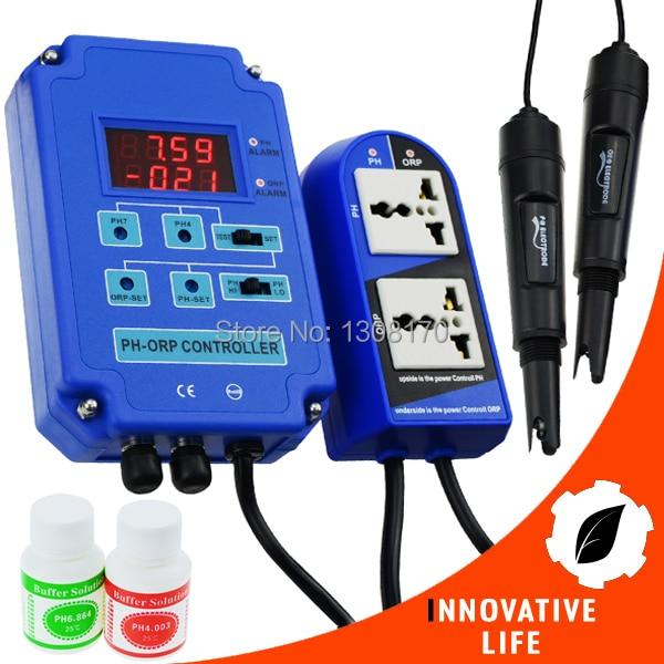 Digital 2 in 1 pH ORP Aquarium Controller BNC Dual Display Electrodes Redox mV CO2 O3 110V/220V dmx512 digital display 24ch dmx address controller dc5v 24v each ch max 3a 8 groups rgb controller
