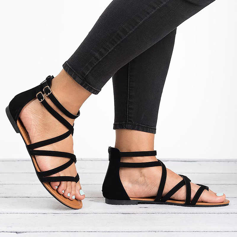 Kadın sandalet artı boyutu 35-43 düz sandalet yeni yaz sandalet roma tarzı klasik sandalet çapraz kayış kadın ayakkabı gladyatör ayakkabı
