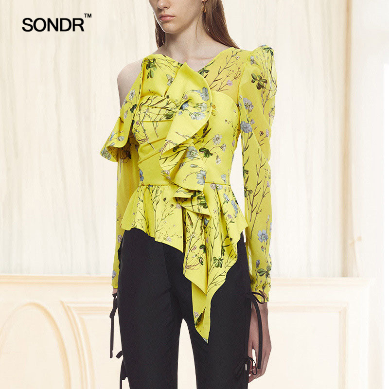 SONDR brochette col imprimé Floral Blouse chemise femme à manches longues à volants femmes Blouses hors épaule Sexy hauts 2018 été