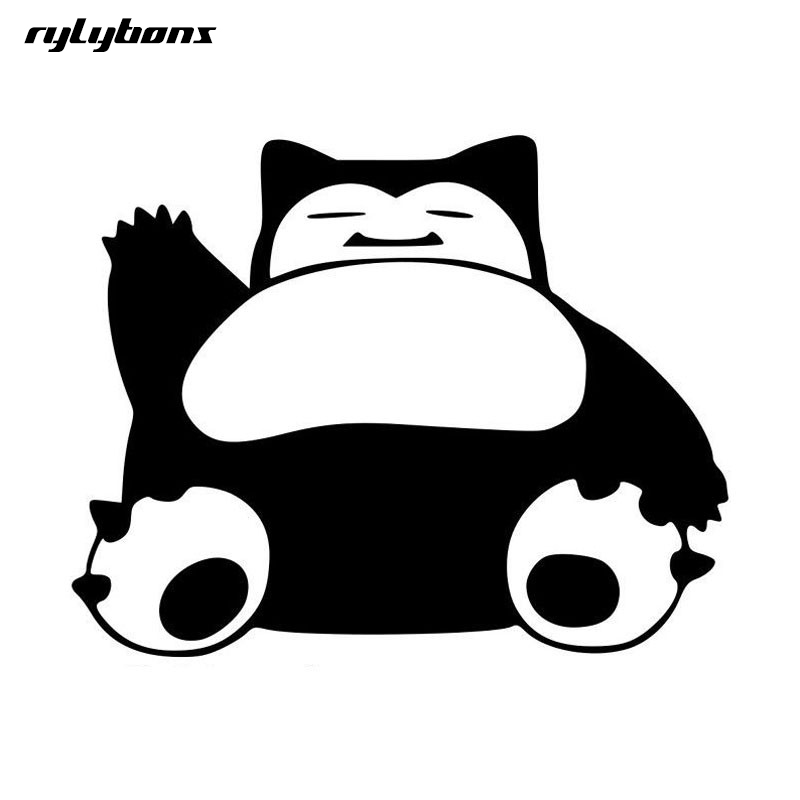 rylybons 1pcs car sticker funny animal Pokemon Snorlax 15.2*11.9cm full Body car stickers and decals  styling for BMW Audi Стикер