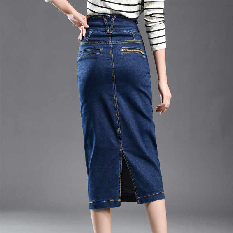 Spódnica Denim kobiet Plus rozmiar duży 2018 Retro wysokiej talii Denim spódniczki dżinsowe ołówek Patchwork odcinek duża Hip jean spódnica długa 8XL