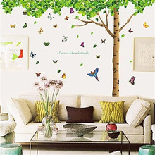 High Quality Zero 2017 DIY Butterflies Under Green Leaves Tree Removable Wall Decal  Sticker Cheap Inexpensive Purchasing B777 Part 19