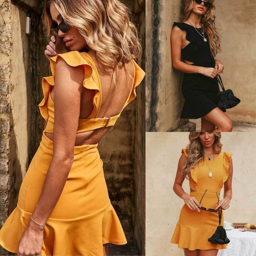 Women Summer Holiday Strappy Backless Sexy Clubwear Ruffles Sleeveless Frill Hem Ladies Beach Party Mini Dress