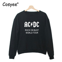 Women S Hipster Fashion AC DC Rock Or Bust Letter Print Long Sleeve Harajuku Pullover Black