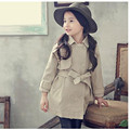 2016 New Spring Cute Baby Girl Coat Back Print Cartoon Long Sleeve Turn Down Collar Double Breasted Kids Khaki Jackets Outwear