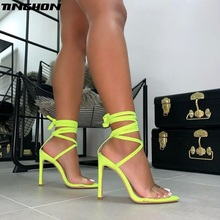 цена TINGHON Summer Sandals Women Novelty PU Transparent Thin High Heel Pointed Toe Women Shoes Wedding Dance Lace-Up Shoes в интернет-магазинах