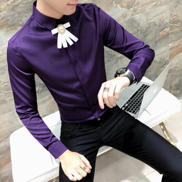 b280a4661a81 2018 Spring Autumn Long Sleeve Men Solid Dress Shirt Black White Purple  Club Party Wedding Shirt Men Floral Formal Shirts XXXL
