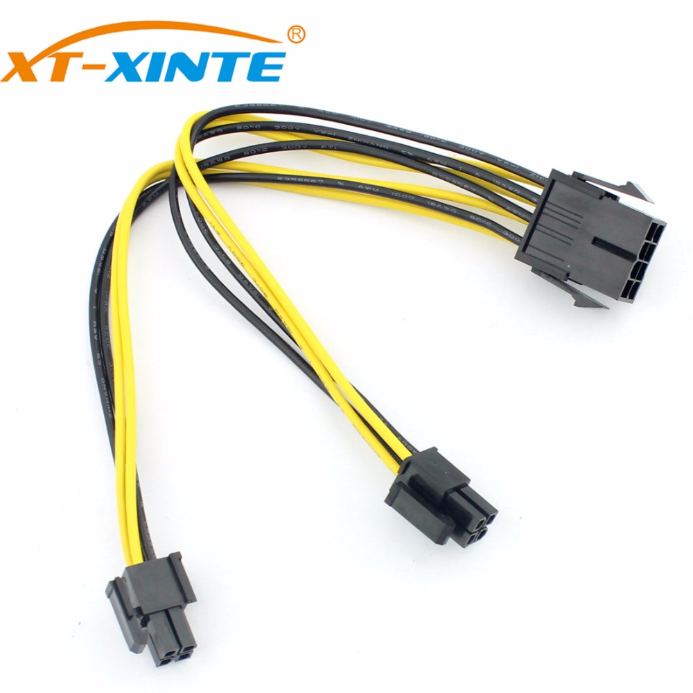XT-XINTE 8Pin to 8P Power Supply Cable for Computer Dual 2-Port 4+4 Pin CPU Extension Cables Extended Wire Cord UL 18AWG 20cm jiahui 4 pin computer case power supply to 3 pin cooler fan adapting wire black white 2 pcs