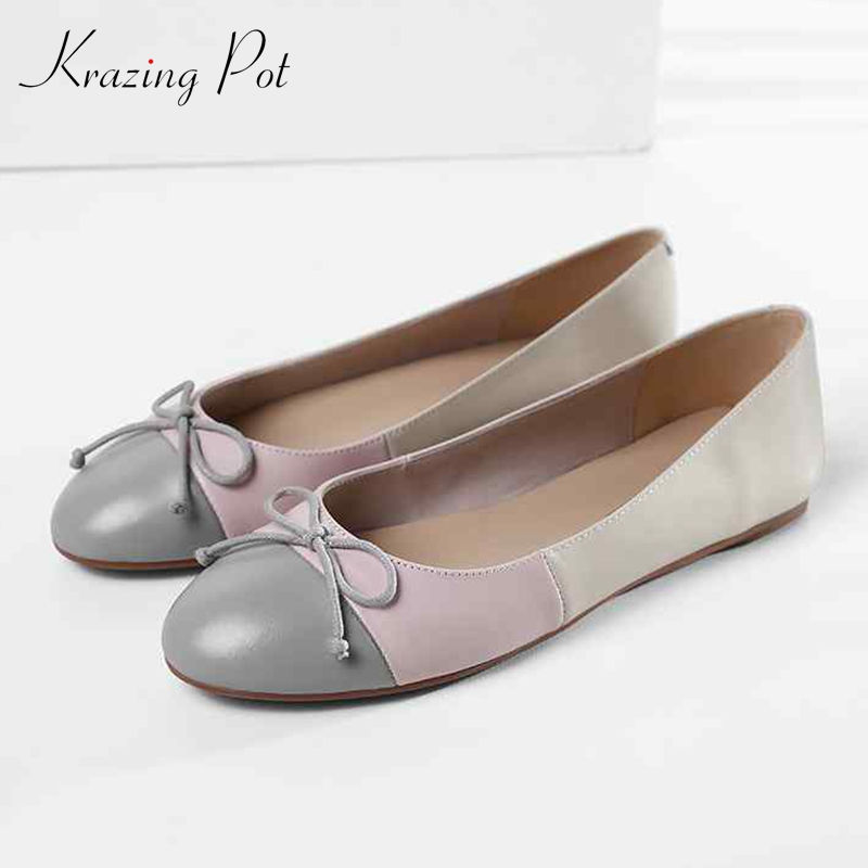 Krazing Pot full grain leather shallow mixed color brand soft round toe casual slip on ballet