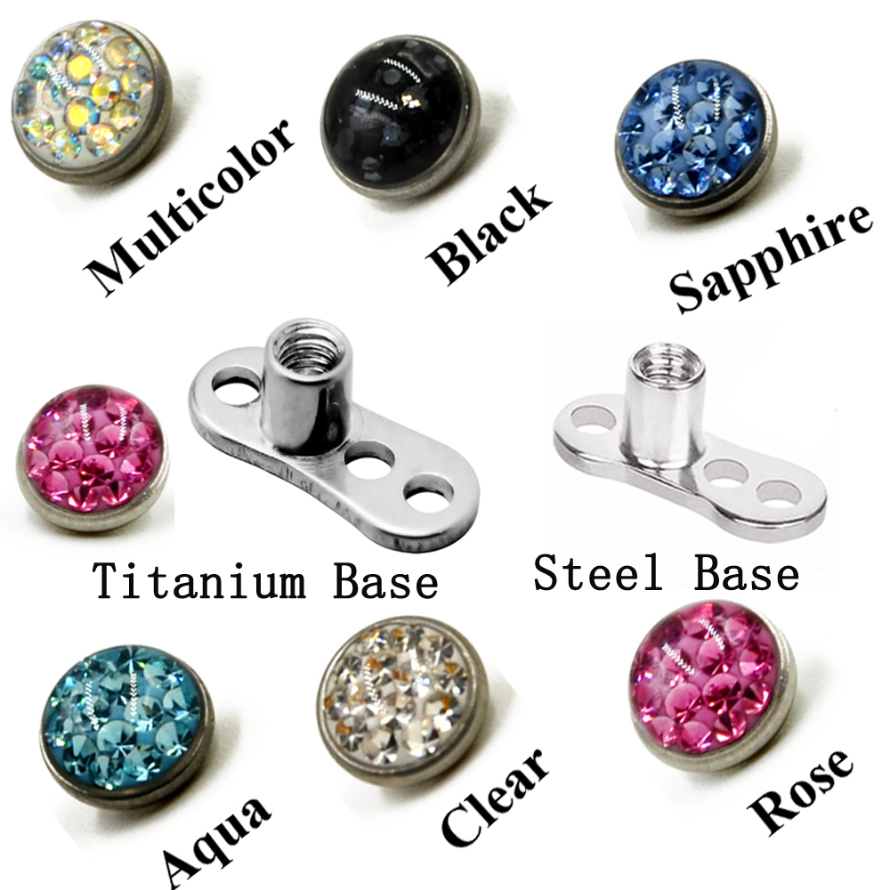 14g Cz Flower Stone G23 Titanium Base Dermal Anchor Universal Piercing Jewelry