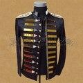 Мужской черный зеркало куртка пиджак пиджак мужской костюм DJ dancer певица производительность пиджаки пальто ночной клуб party bar пром показать прохладный
