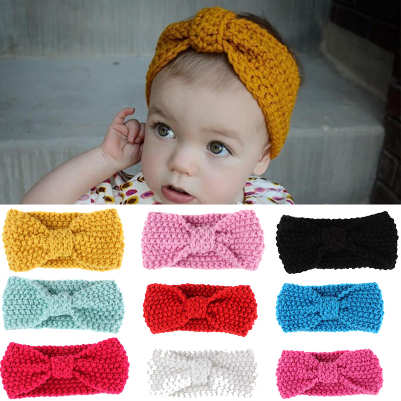 Sale 12 Candy Colors Winter Warm Lovely Bow Hairband Knitted Headwear Hair Accessories Gift