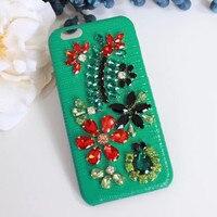 Moda Bling Kryształ Diament Luksusowe Prawdziwej Skóry Pokrywa Coque dla iPhone 7 Case 6 6 s 7 Plus Przypadku Telefonu Rhinestone kwiat