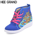 HEE GRAND Woman Canvas Shoes Ethnic Style Woman Flats Spring Dragon Embroidered Casual Shoes Woman XWD5129