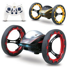 RC Car Remote Control Robot Car Bounce With LED Sound Flexible Wheels Rotation Jump Mini Vehicle Toys for Boys(China)