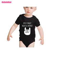 Culbutomind Cute Baby My First Rock Shirt Clothes Bodysuit Rock Baby Clothes Set with Personalized Beanie Cap for NB-12Months