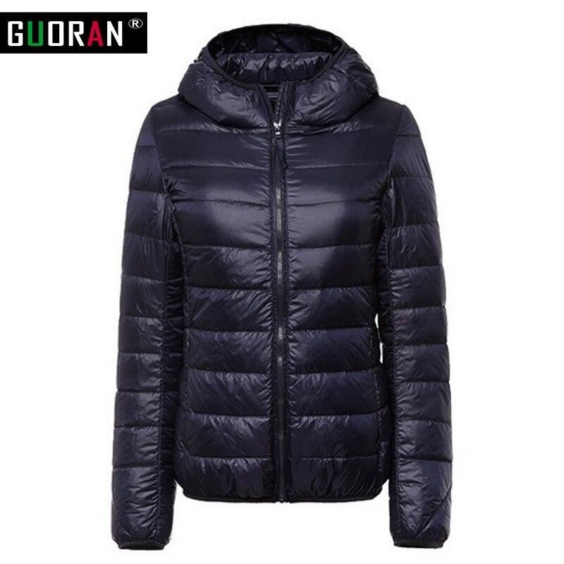 Kış ceketler bayan aşağı ceketler parka İnce kapşonlu % 90% beyaz ördek aşağı ceket kadın dış giyim kar fermuar Tasarım şeker renk