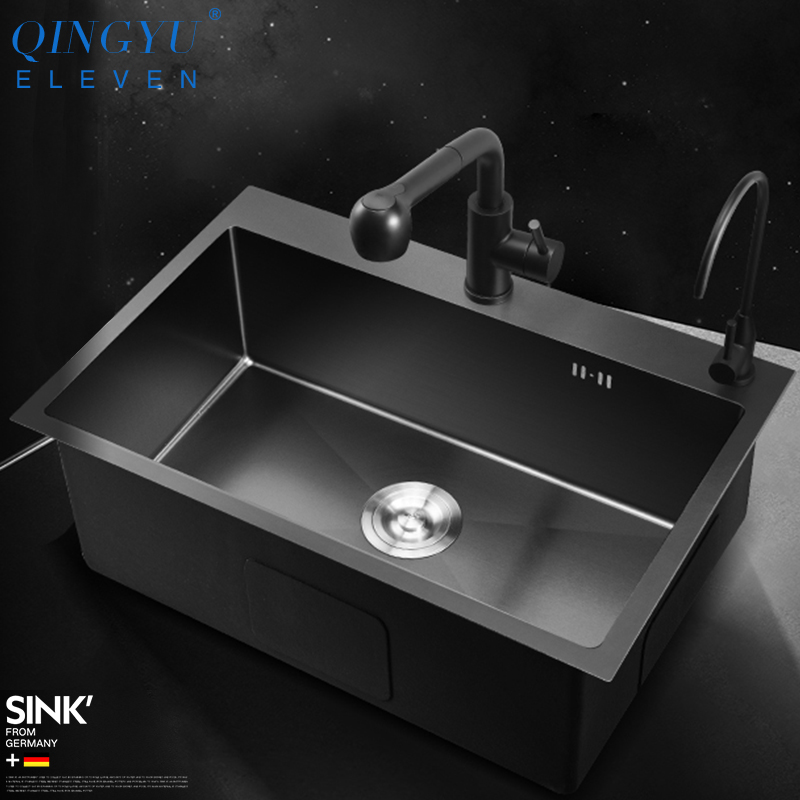 Large Size Kitchen Sink Nanometer Antibacterial Black 304 Stainless Steel 3-4mm Thickness Manual Single Bar Counter Kitchen Sink