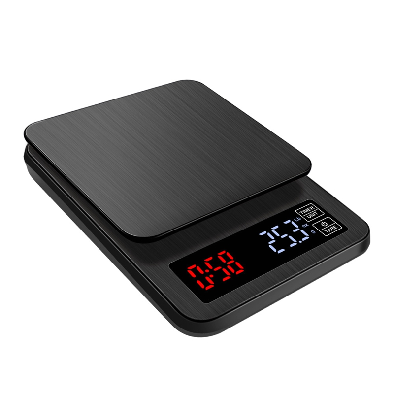 5kg*0.1g LCD Electronic Coffee Scale 5000g/0.1g Black Big Digital Kitchen Baking Scales USB Drip Weight Balance Timer 3kg 0.1g(China)