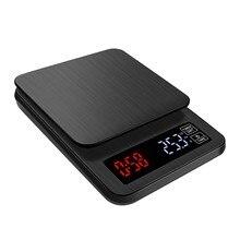 Balance à café électronique LCD 5kg x 0.1g, grande Balance de cuisson numérique noire, USB, minuteur de poids 3kg 5000g 0.1g