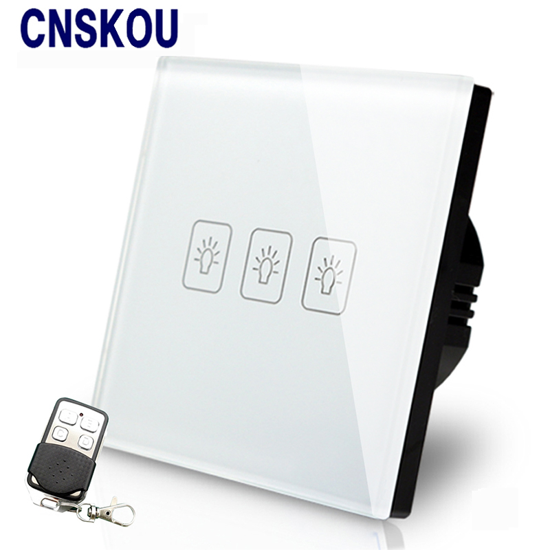 Cnskou EU Standard 3Gang 2Way Remote Control Touch Switch White Crystal GlassPanel Smart Switch With LED Lamp Factory 2017 free shipping smart wall switch crystal glass panel switch us 2 gang remote control touch switch wall light switch for led
