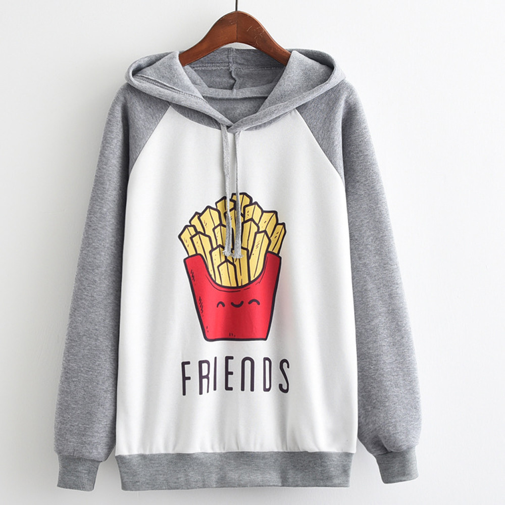 Women Autumn Winter Sweatshirt Girls Fashion Long Sleeve Printed French Fries Hoodie Jumper Hooded Pullover Sweatshit Top Blouse