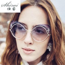 цена на 2019 Luxury Vintage Cat Eye sunglasses women Brand Designer Oversized sunglasses Female sun glasses for lady Mirror Shades UV400