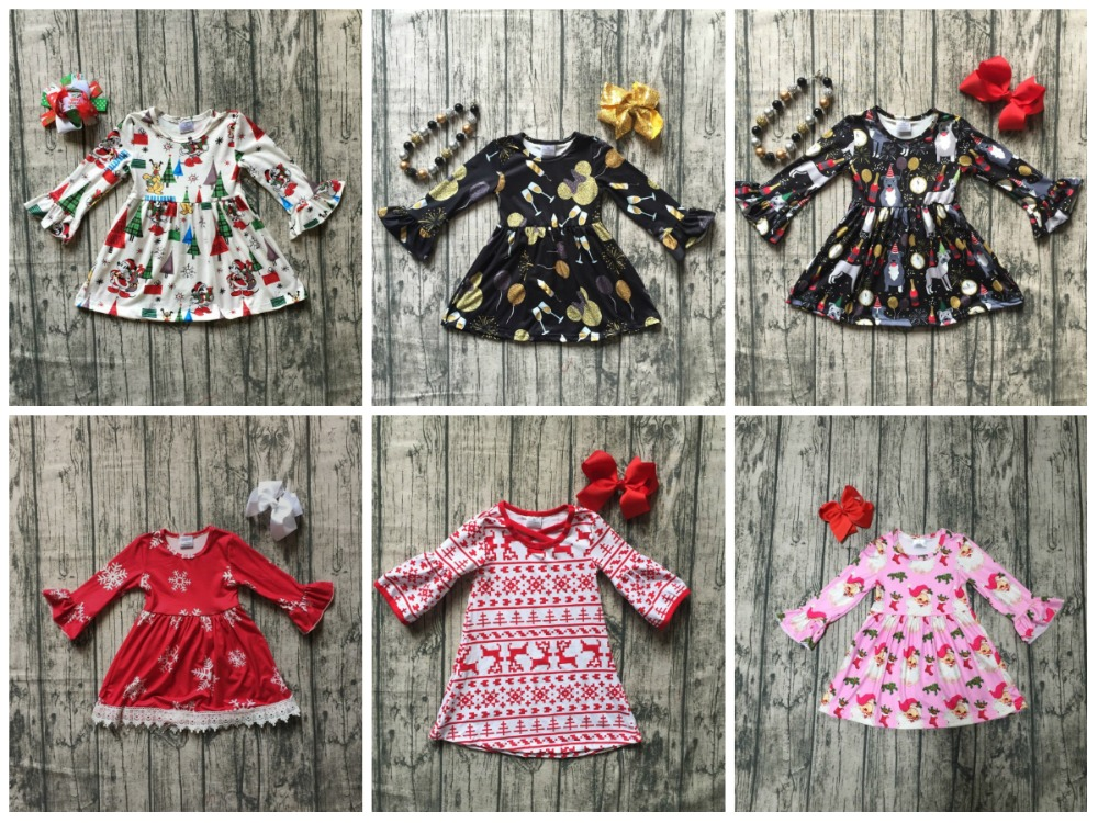 все цены на Christmas girls children clothes baby cotton Fall/Winter new year mouse snowflare Santa plaid ruffle dress boutique match bow