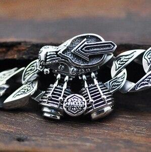 Image 2 - Chain & Link Bracelets Sterling 925 Silver Jewelry Thai Silver Man Male hip hop Motor Engine Big Thick Cross S925 Bracelet
