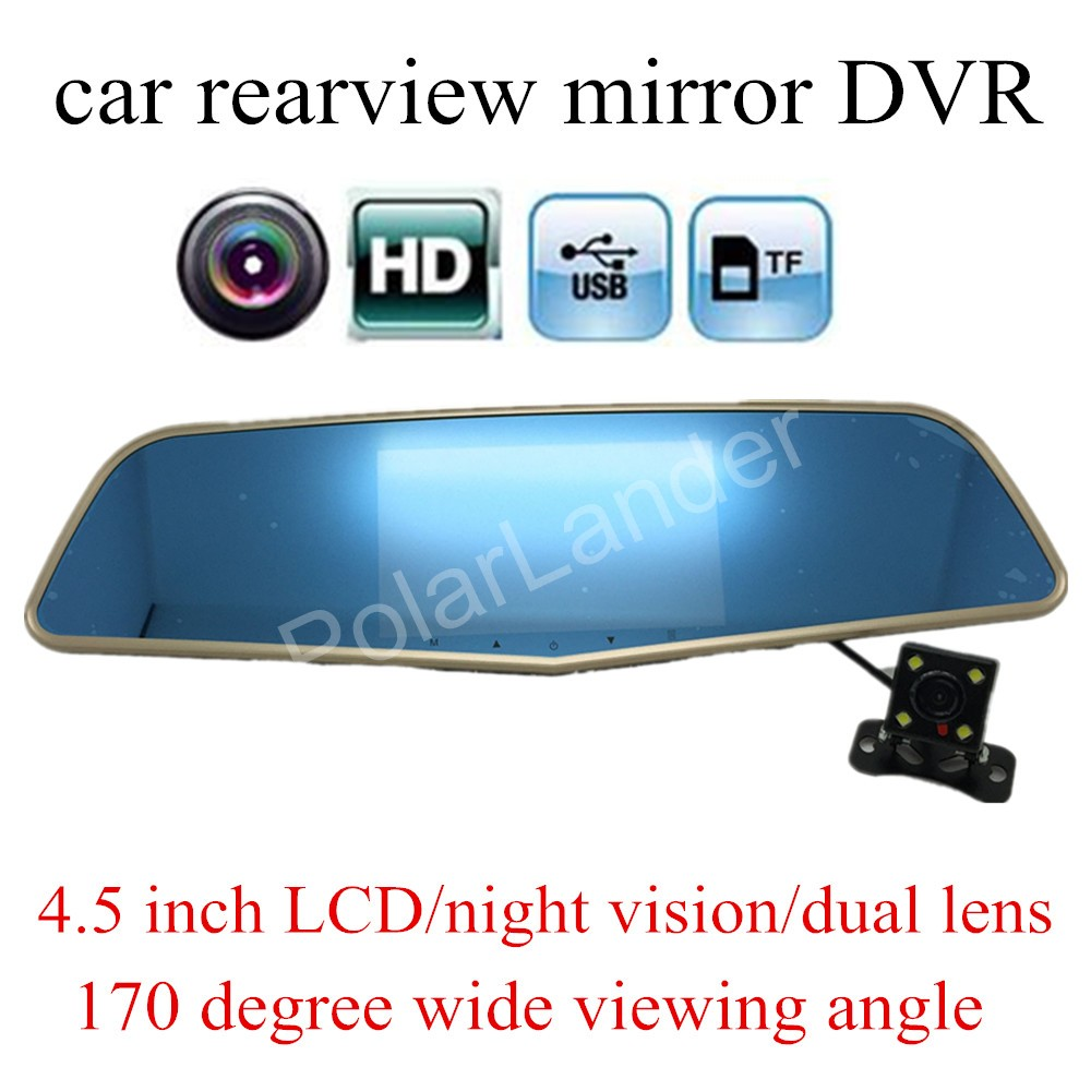 free shipping dual lens Novatek 96655 Car camera Rearview Mirror DVR HD Video 4.5 INCH LCD Recorder Mirrors Dash Cam Blackbox
