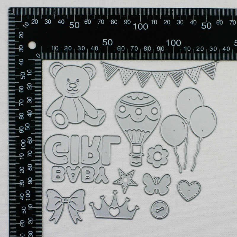 Qitai 12 unidades/pacote corte dados para menina diy urso/bunting/balão/balão de ar quente/coroa/gravata/borboleta decoração criativa md345