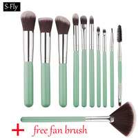 10+1 pcs Kabuki Cosmetic Brush Beauty eyeshadow eyelashes eyeliner foundation powder brush makeup brushes set brochas maquillaje
