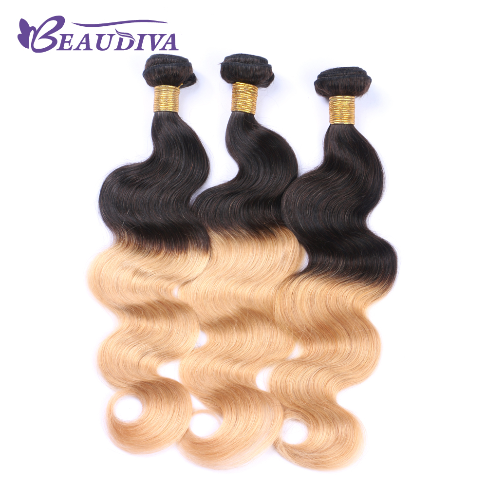 Beaudiva Pre-Colored t1b/27 Body Wave Brazilian Hair Remy Human Hair Weaving 100G 3 Bundles