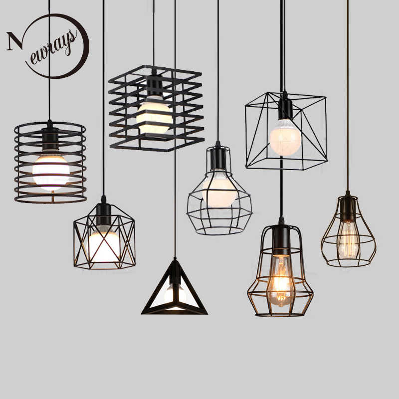 Retro loft industrial iron hanging lights E27 110V 220V LED black pendant lamps for kitchen living room bedroom aisle restaurant