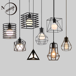 Retro loft industrial iron hanging lights E27 110V 220V LED black pendant lamps for kitchen living room bedroom aisle restaurant