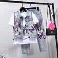 Conjunto de pantalones vaqueros estilo europeo con agujeros para mujer conjuntos de dos piezas Primavera Verano trajes nuevo chaleco + Pantalones vaqueros de siete puntos chicas estudiantes