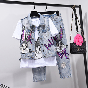European Style Hole Jeans Set Womens Two Piece Sets Spring Summer Outfits New Vest Coat + Seven Point Denim Pants Girls Students