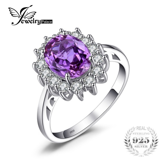 jewelrypalace princess diana 322 ct created alexandrite sapphire wedding rings for women 925 sterling silver brand - Alexandrite Wedding Ring