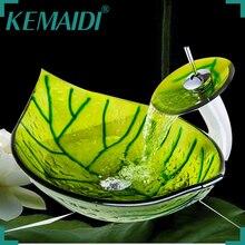 YANKSMART KEMAIDI Hand Painted Color Green Leaf Vessel Sink Basin Deck  Mounted